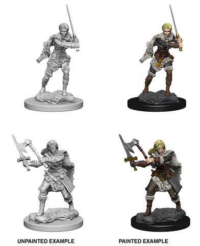 Human Female Barbarian Unpainted Wizkids HD Mini