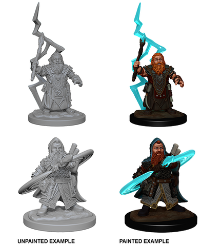 Dwarf Male Sorcerer Unpainted Wizkids HD Mini