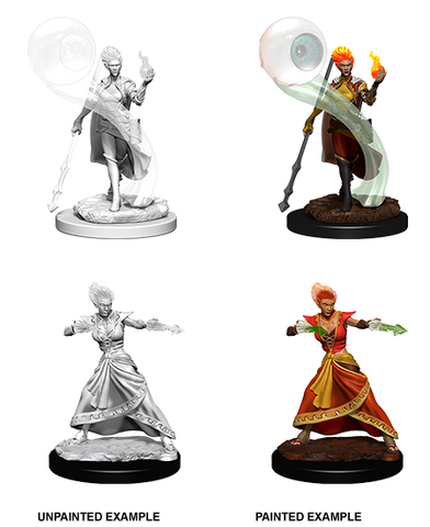 Fire Genasi Female Wizard Unpainted Wizkids HD Mini