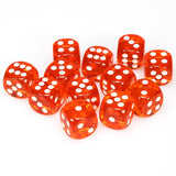 Chessex Orange with White Translucent d6 Dice 12 pcs