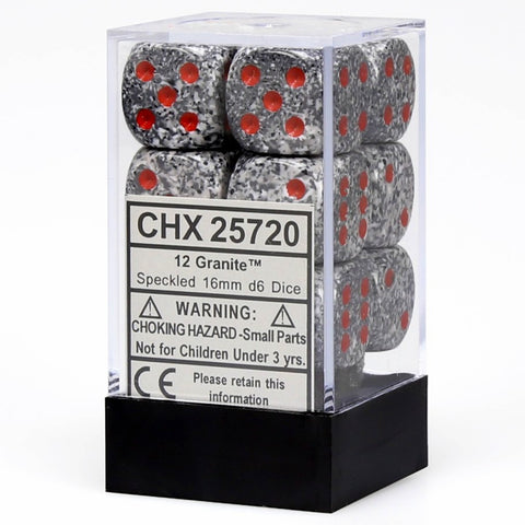 Chessex Granite d6 Dice 12 pcs