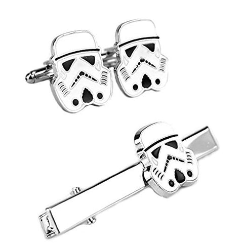 Storm Trooper Cufflink and Tie Bar Set