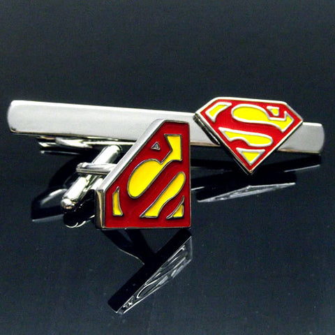 Superman Cufflink and Tie Bar Set