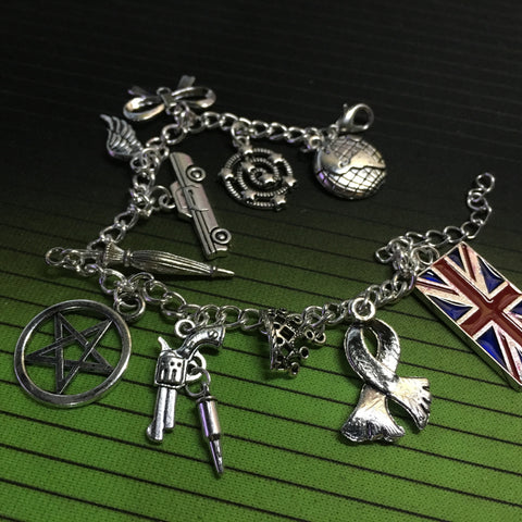 Doctor Who-Supernatural-Sherlock Charm Bracelet