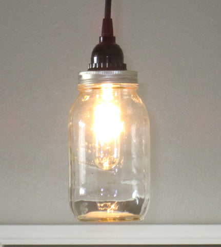 Mason Jar Single Pendant Light - Out of the Woodwork Designs
