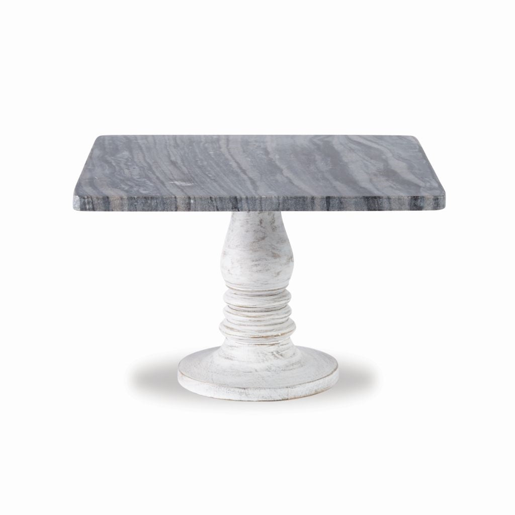 Marble & Wood Pedestal - Out of the Woodwork Designs