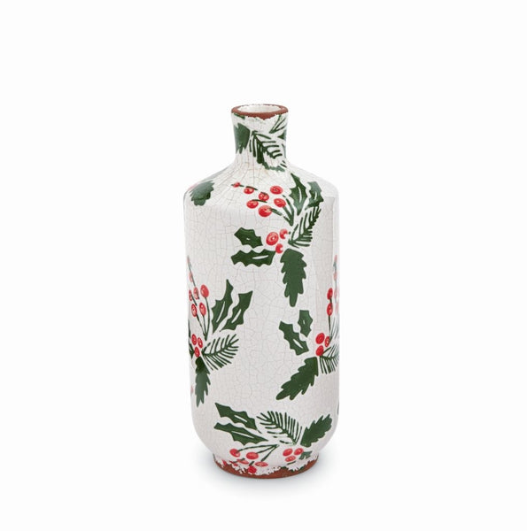 Holly Berry Stamped Vase-Tall