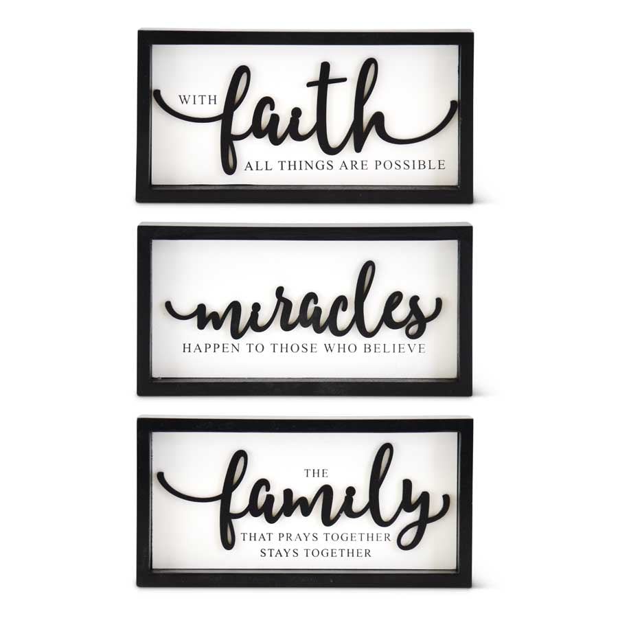 B/W Inspirational Wood Sign - 3 Styles