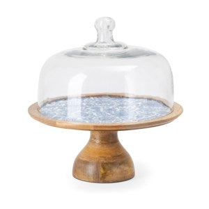 Blue & White Wood Cake Stand - Out of the Woodwork Designs