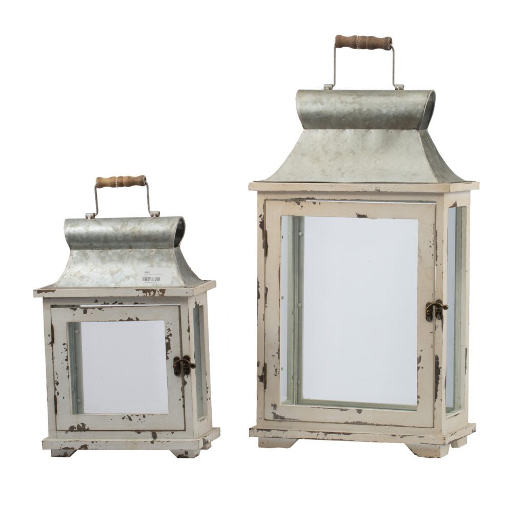 White Galvanized Lantern- Large