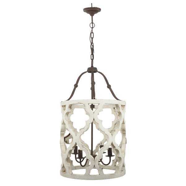 Quatrefoil White Distressed 4 Light Chandelier Out Of