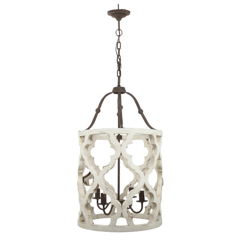 Quatrefoil White Distressed 4 Light Chandelier - Out of the Woodwork Designs