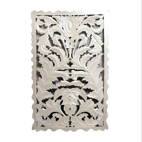 White Wood Carved Wood Panel - Out of the Woodwork Designs