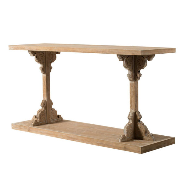 Entry Table- Natural Wood Scroll