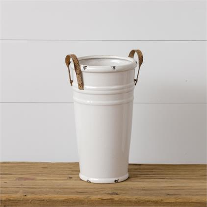 White Distressed Vase with Metal Handles Large