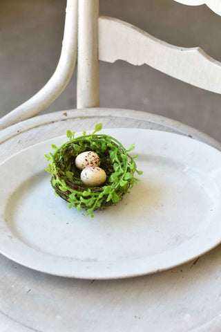 Green Nest with Eggs -