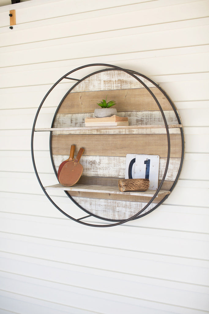 Recycled Wood and Metal Round Shelf