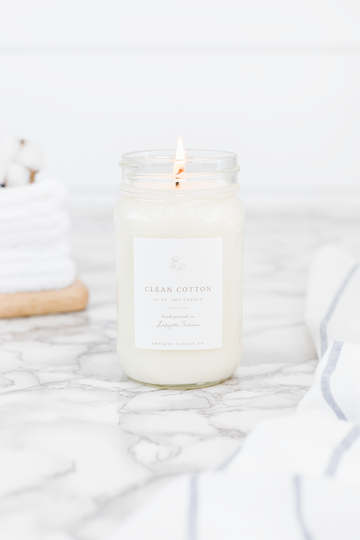Clean Cotton 16 oz Candle - Out of the Woodwork Designs