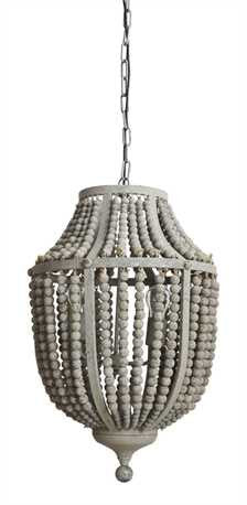 Grey Wood Bead Chandelier - Out of the Woodwork Designs