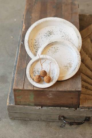 White Distressed Footed Trays- 3 sizes