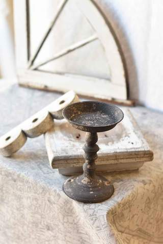 French Gray Candle Holder - 9""