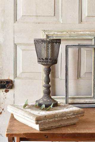 Finespun Candle Holder- Gray- 2 Sizes