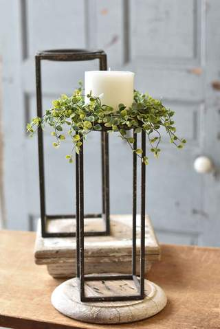 French Gray Spartan Candle Holders