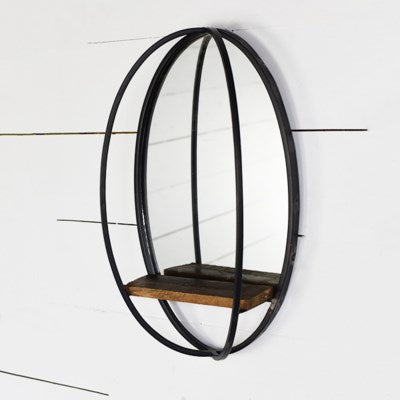 Oval Loft Mirror With Shelf