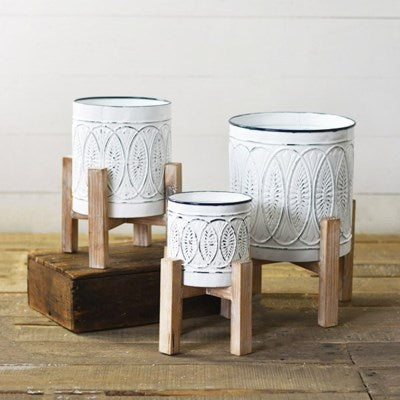 White Tin Planters 3 Sizes