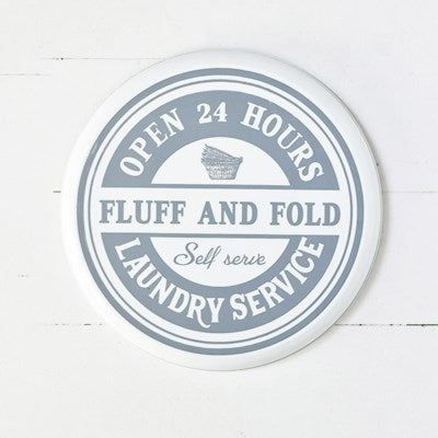 Round Laundry Tin Sign