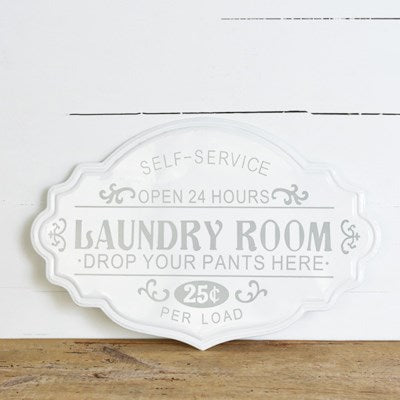 Grey and White Laundry Sign