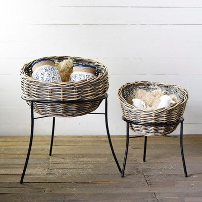 Woven Basket on Stand - 2 Sizes