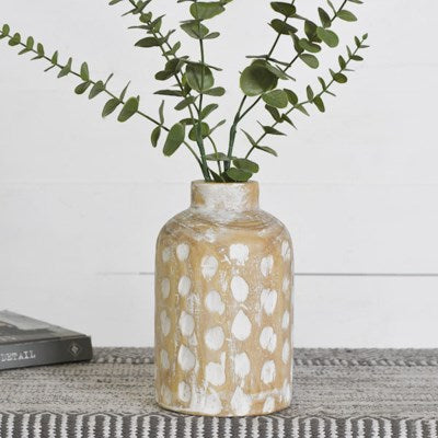 White Wash Spotted Vase-Large