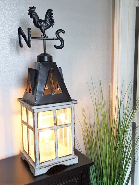 Weathervane Farmhouse Lantern Table Lamp - Out of the Woodwork Designs