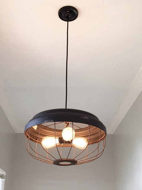 Industrial 3 bulb metal pendant light out of the woodwork designs
