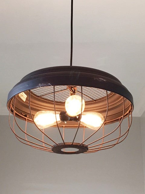 Industrial 3 Bulb Metal Pendant Light - Out of the Woodwork Designs