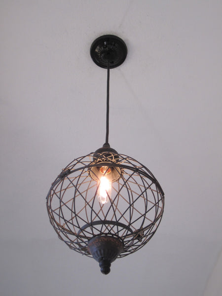Wire Medium Metal Globe Pendant Light - Out of the Woodwork Designs
