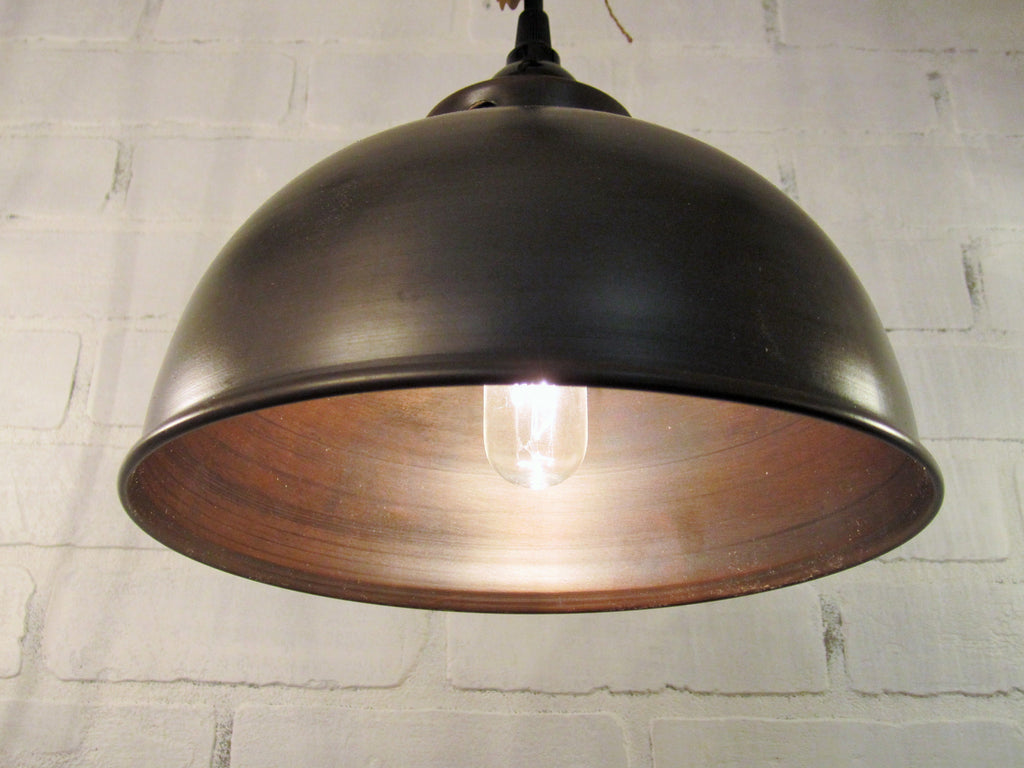 pendant dome dark itm light pewter industrial metal vintage style inch