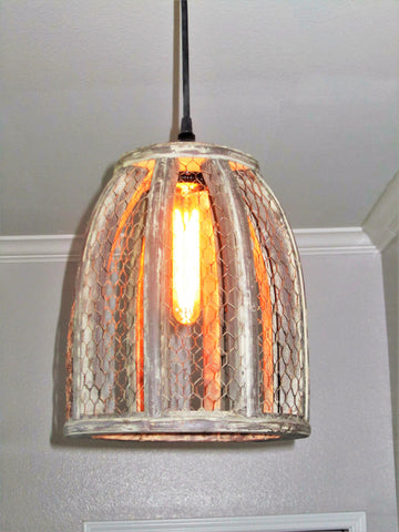 Chicken Wire Farmhouse Small Pendant Light - Out of the Woodwork Designs