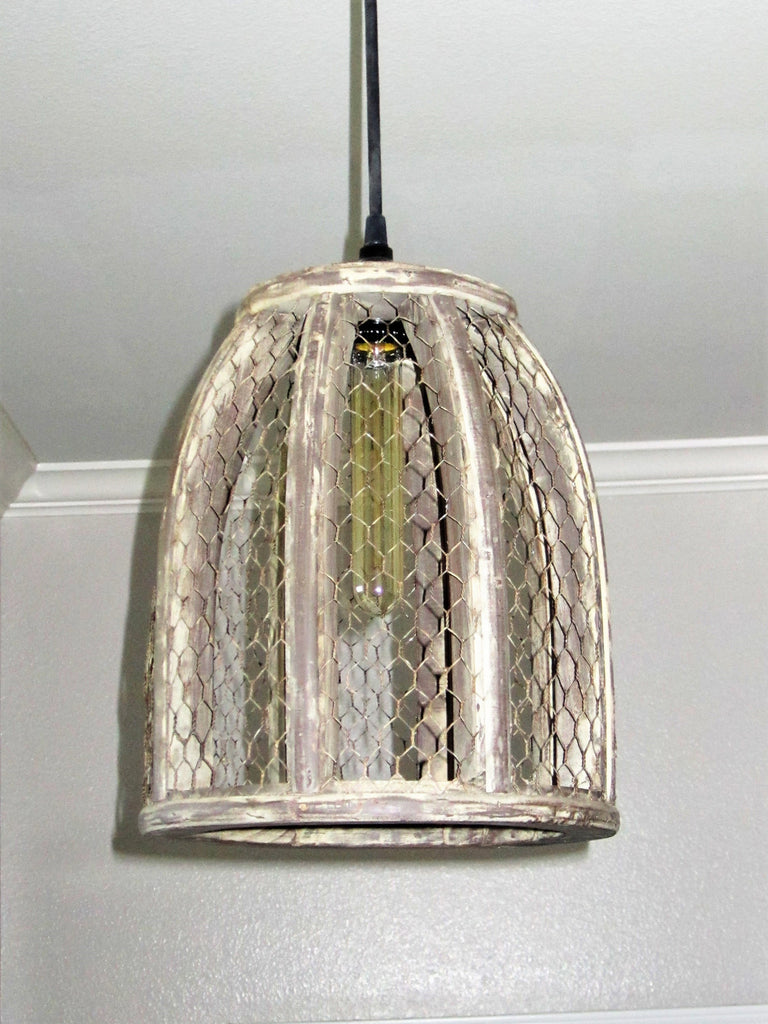 Chicken wire farmhouse small pendant light aloadofball Image collections