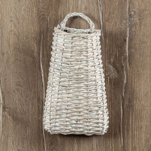 White Wide Bottom Wall Basket*