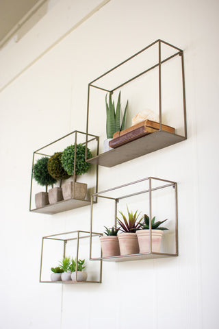 Antique Brass Metal and Wood Shelves- 4 Sizes