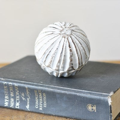 White Carved Wooden Ball