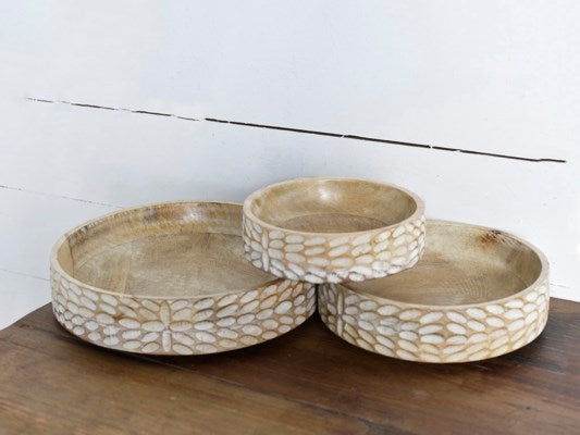Carved Wood Bowl- 3 Sizes