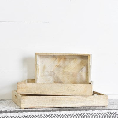 White Wash Wood Trays