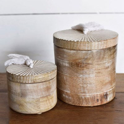 Carved Round Wood Boxes with Lids- 2 Sizes