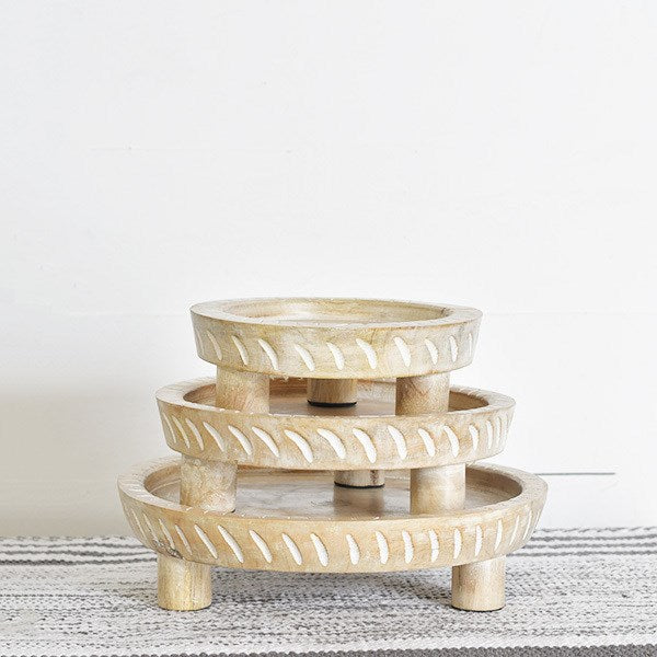 White Wash  Round Wood Risers