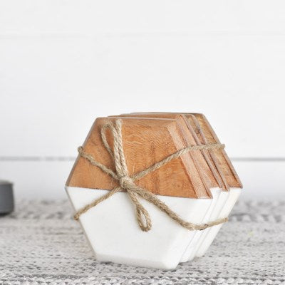 Hexagon Wood and Marble Coaster Set of 4