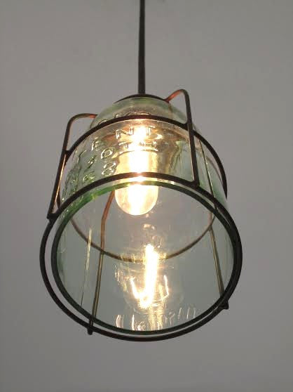 Rust Cage Half Gallon Mason Jar Pendant Light - Out of the Woodwork Designs