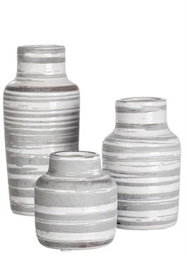 Gray Striped Vases - 3 Sizes